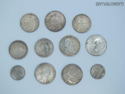 50 francs argent Hercule, 2 pièces de 10...