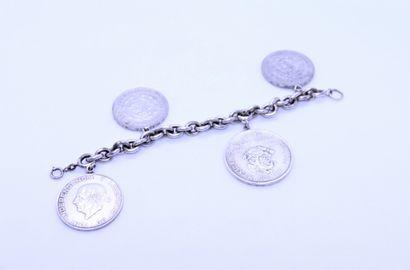Bracelet en argent 800°/°° à mailles jaseron,...