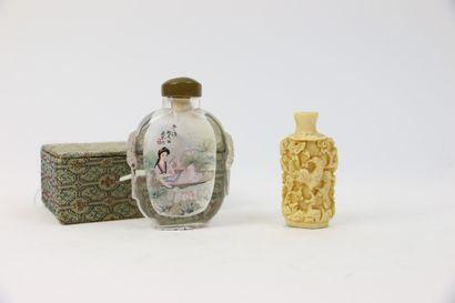 CHINE XXe siècle  Lot de deux flacons tabatières:...