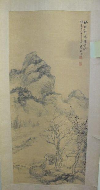 CHINE XXe siècle.  Paysage montagneux et...