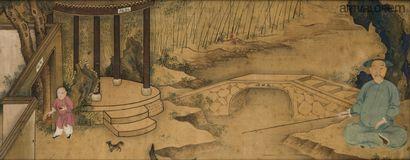 CHINE XVIIIe siècle  Peinture à l'encre et...