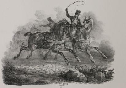 Carle VERNET (1758-1835)  Chasse à cour et...
