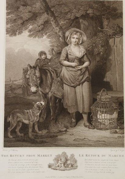 2 aquatintes anglaise fin du XVIIIe  Le retour...