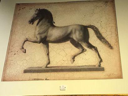 Deux reproductions de chevaux marchants...