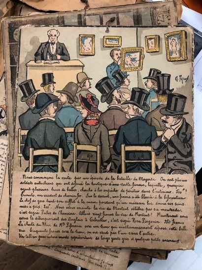 Gustave FRISON  Suite de 16 gravures en couleurs...