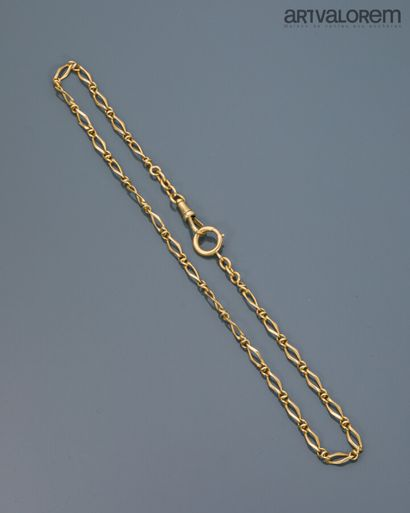 Chaîne de montre en or jaune 750°/°°, fermoir...