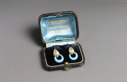 Paire de pendants d'oreille en or, émaillé...