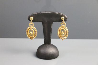 Paire de pendants en or jaune 750°/°° en...