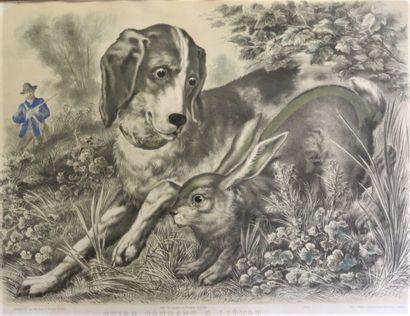 F C WENTZEL(1807-1869)  Chien courant et...