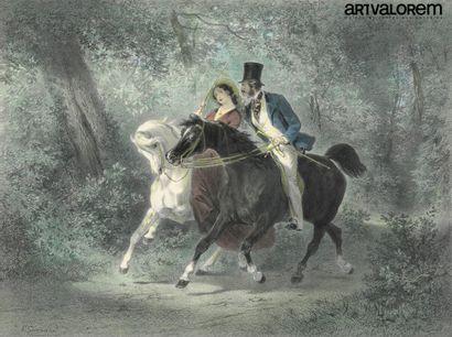 E.C GUERARD (1821-1866)  Les airs de promenade...