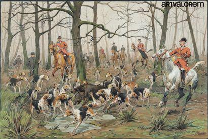 Georges BUSSON (1859-1933)  Quatre scènes...