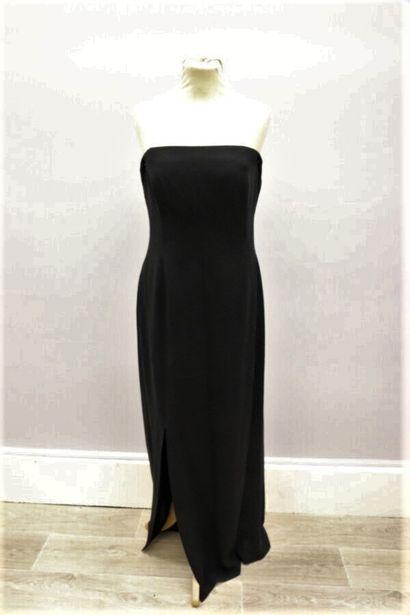 CELINE  Robe longue bustier en soie noire,...