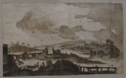 Ecole du XVIIIe siècle  Paysage animé.  Encre...