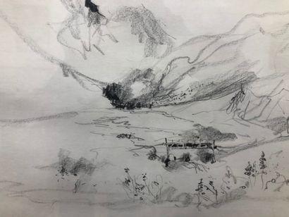 Ecole moderne.  Paysage, crayon sur papier,...