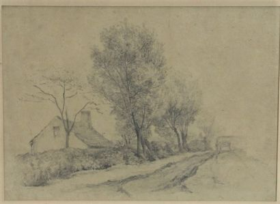 Le hameau, dessin au crayon. 16.5 x 23 cm...