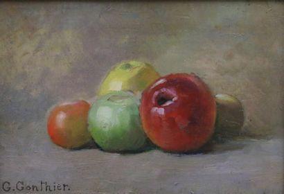 G. Gonthier (XXe)  Nature morte aux pommes....
