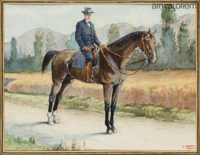 V. VAUTIEZ (XXe siècle)  Cavalier  Aquarelle...
