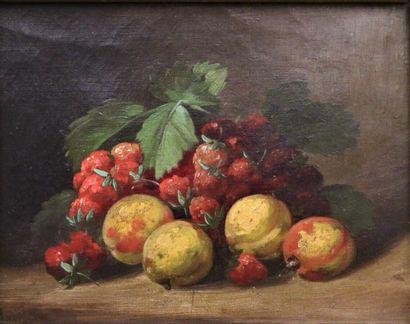 Ecole du XIXe siècle  Nature morte aux abricots...
