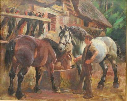 Raimond LACOURT (1882-1946)  Palefrenier...