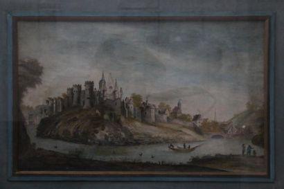 Ecole du XVIIe siècle.  Ville fortifiée  Aquarelle...