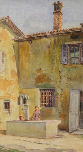 Gabriel BRUN-BUISSON (1883-1959)  La fontaine...