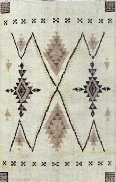 Grand et ancien tapis marocain (Nord Atlas, Afrique du Nord) vers 1940 / 1950.  Velours...