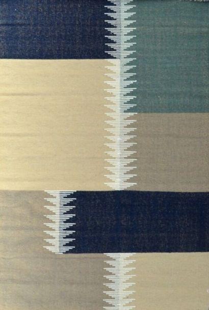 Kilim tissé moderne XXème.  Travail à l'aiguille, technique de la tapisserie, aux...
