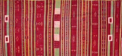 Grand et ancien Kilim marocain (Nord Atlas, Afrique du Nord) milieu XXème.  Travail...