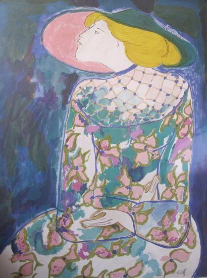 Linda LE KINFF (née en 1949)  Femme au chapeau...