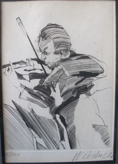 Claude WEISBUCH (1927-2014) (d'après)  Violoniste...