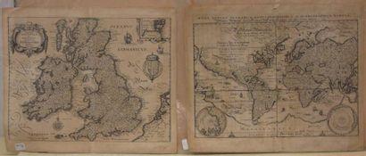 Mappemonde, XVIIIeme siècle et carte de Grande-Bretagne....