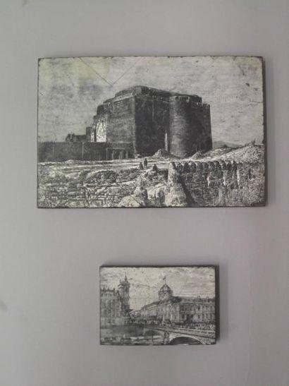 Deux matrices en bois gravé pour des lithographies...