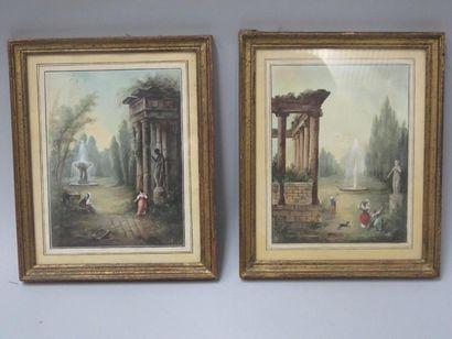 Deux aquarelles signées JG représentant des...