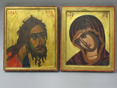 Deux icônes. Travail Russe du XXe siècle