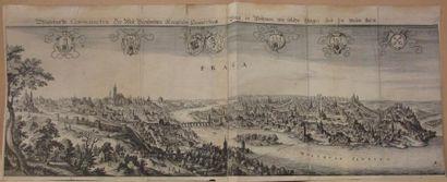 Deux gravures, Vue de Prague (27x62,5cm)...