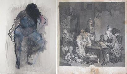 Ensemble de gravures, reproductions et dessins...