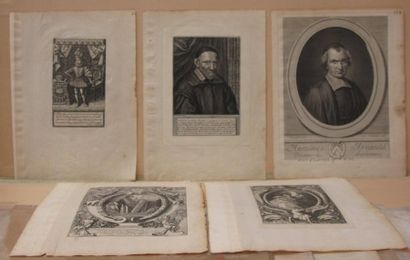 Cinq gravures, Portraits (dont Henry Le Grand,...