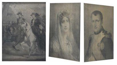 Montage de trois gravures représentant le...