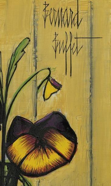 """BUFFET Bernard (1928-1999) """"Deux pensées, fond jaune"""", huile sur isorel, signé en..."""