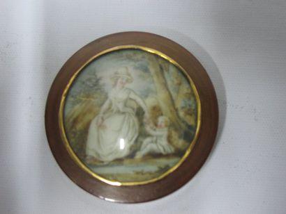Boîte en écaille blonde ornée d'une miniature...
