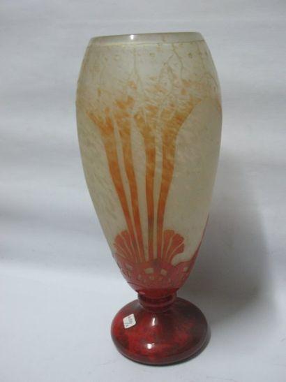Le verre français, Charder, grand vase en...