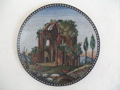 Tableau en micro mosaïque à décor d'un berger...