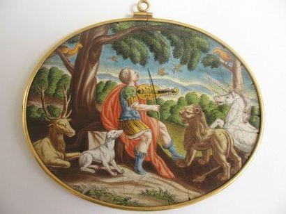 Médaillon ovale en émail peint représentant...