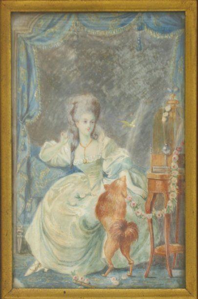 Miniature figurant une femme dans son boudoir...