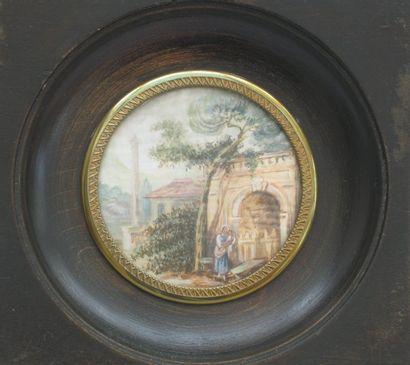 Miniature ronde gouachée, scène animée XIXème...