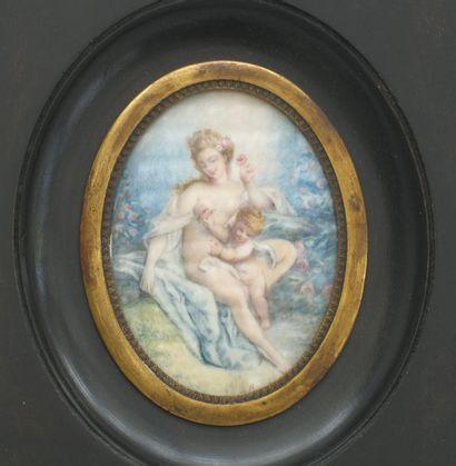 Miniature ovale « Allégorie de l'amour »