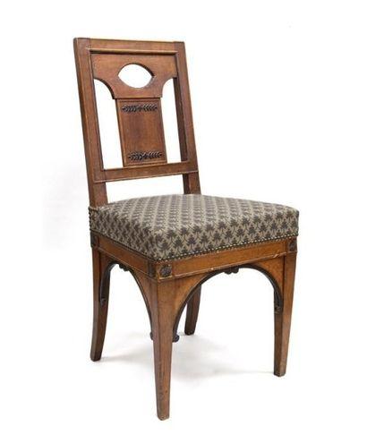 Rare chaise à dossier carré en acajou et...