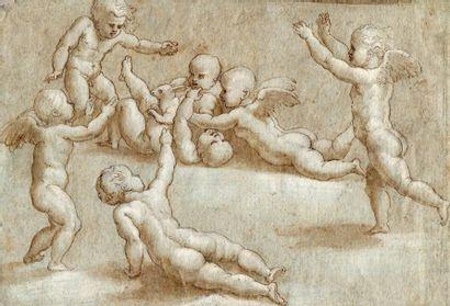 Ecole italienne du XVIe siècle. Jeux d'enfants...