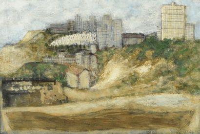 Josef SIMA (1891-1971). Paysage urbain. Huile...