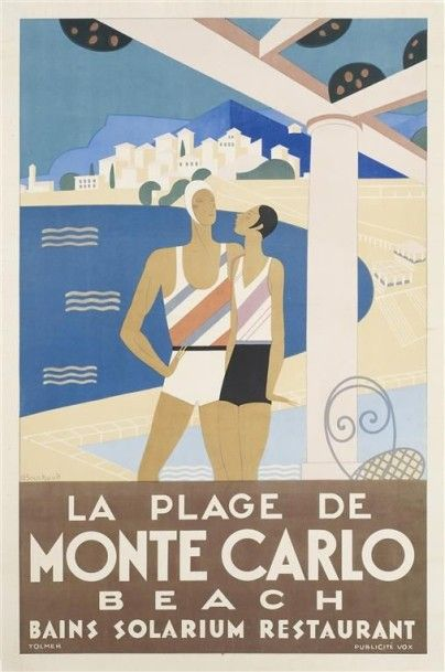 BOUCHAUD Michel. PLAGE DE MONTE CARLO 1929...